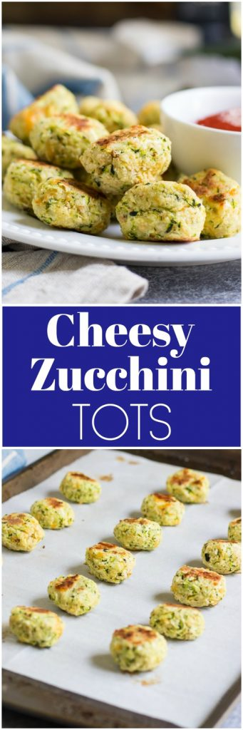 These Cheesy Zucchini Tots are a fun way to get the family to eat some veggies with a smile! They are simple to whip up and perfect for dipping into your favorite sauce! Crispy baked goodness on the outside and cheesy garlic on the inside. No one will know they are so healthy! #zucchini #zucchinitots #veggietots #baked #vegetables #sidedish #appetizer #kidsinthekitchen