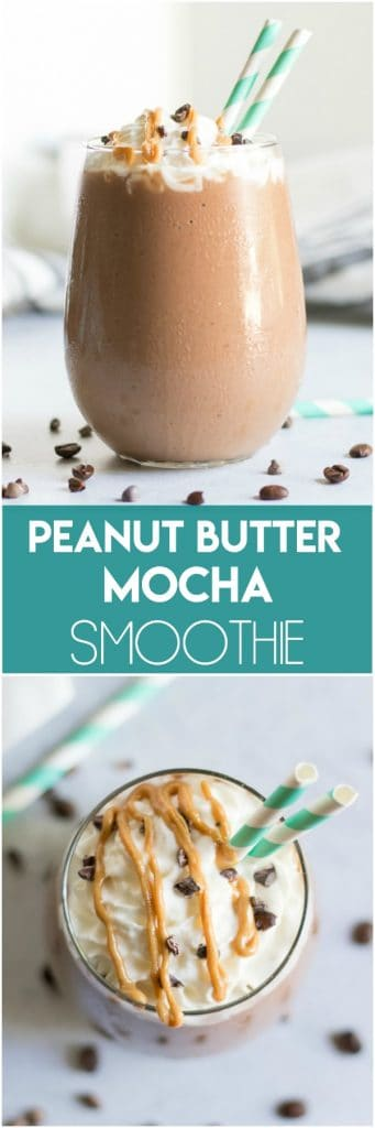 This super simple and delicious Peanut Butter Mocha Smoothie recipe will have you dreaming of waking up in the morning! Rich and creamy and full of chocolate and peanut butter goodness. A perfect way to combine coffee with part of your breakfast in the morning. #smoothie #mochasmoothie #peanutbutter #peanutbuttermocha #breakfast #simplerecipe