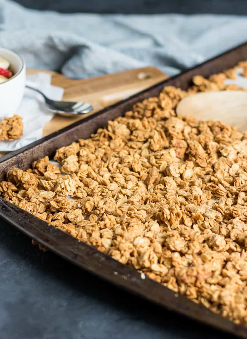 Crunchy Peanut Butter granola on baking pan.