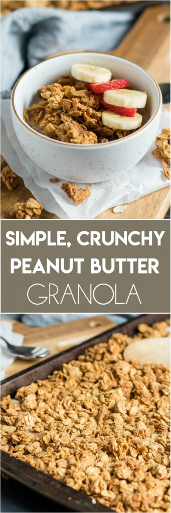 Big, clusters of crunchy peanut butter granola make this hearty granola the perfect addition to any snack, yogurt bowl, smoothies and more. It's so simple and perfect straight from the jar as well! #granola #peanutbutter #granolarecipe #simplerecipe #snacking #simple