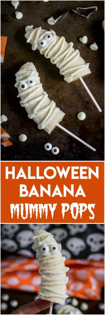 Looking for a fun and easy treat to make with the kids this Halloween? These Halloween Banana Mummy Pops are simple and fun for all ages to make and eat! Just a white chocolate drizzle, fun candy eyes and some bananas and you are set! #october #halloween #halloweentreat #halloweencraft #funfood #bananapops #fall #spooky