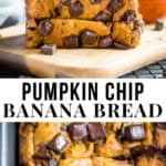 Sliced pumpkin banana bread with chocolate chips.