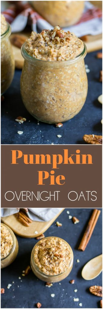 Pumpkin pie for breakfast? With these simple Pumpkin Pie Overnight Oats, a touch of cinnamon and pumpkin spice mixed with hearty oats and real pumpkin will make fall mornings extra cozy! #pumpkinpie #overnightoats #fallrecipes #mealprep #oatmeal #pumpkin #pumpkinspice #breakfast