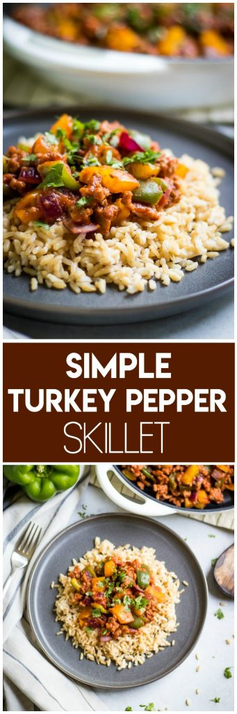 This Simple Turkey Pepper Skillet recipe makes dinner a breeze! Only one pan needed and ready in under 30 minutes, packed with vegetables and lots of flavor. It will be a hit for the entire family! #skilletdinner #simpledinner #dinnerrecipe #turkeypepperskillet #simplemeal #onepan #onepandinner