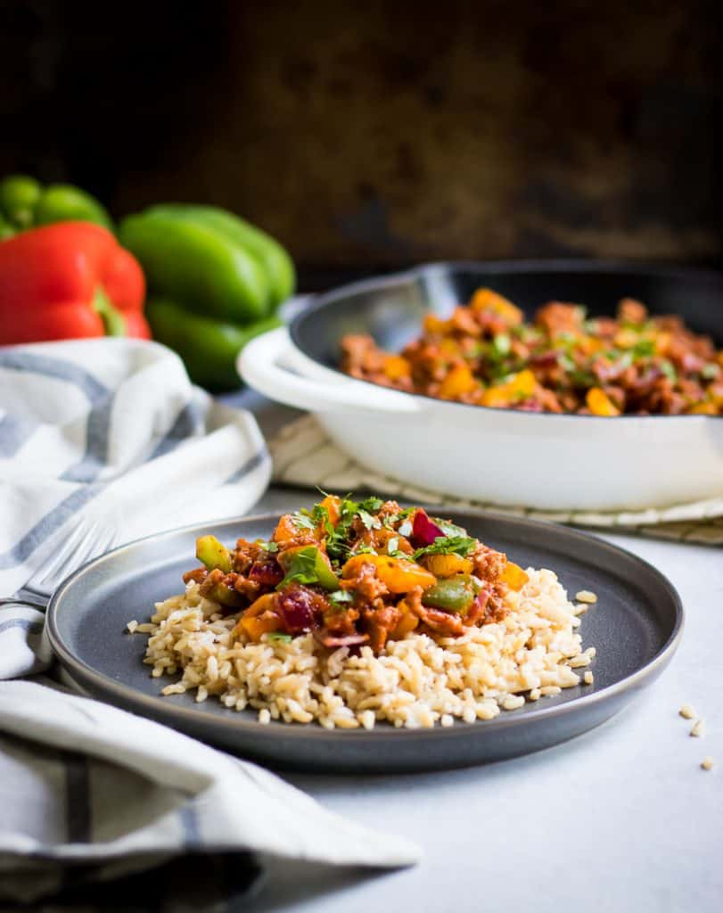 Simple Ground Turkey Skillet dinner with rice and peppers.