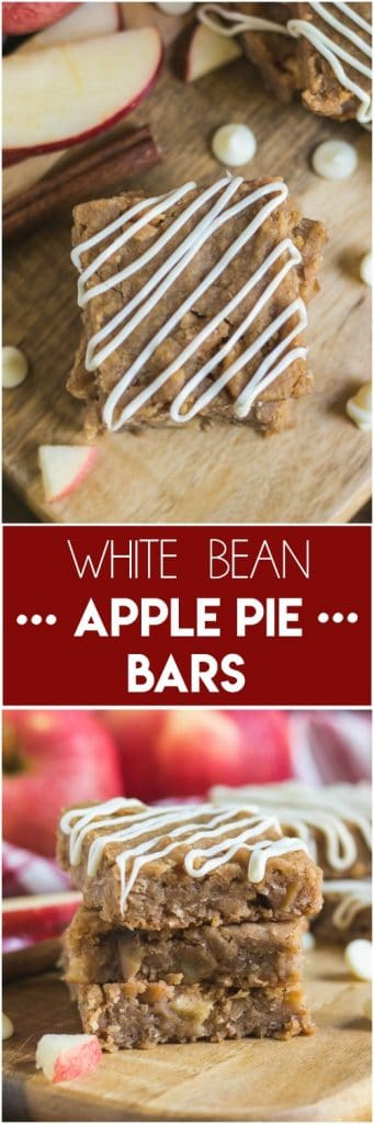 Packed with protein, these White Bean Apple Pie Bars are the perfect fall recipe to share! Rich and moist, baked goodness with white beans, apples, oats and a white chocolate drizzle, these will be a hit for any occasion this season! #whitebeans #whitebeanblondies #fallrecipes #baking #applepie #applepiebars