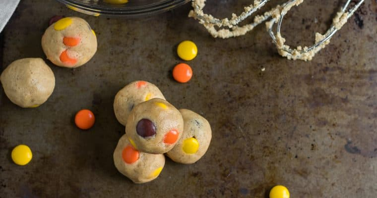 Peanut Butter Reese's Pieces Cookie Dough Bites