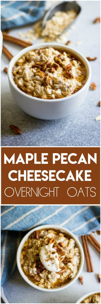 Cheesecake for breakfast? Yes please! These rich and creamy Maple Pecan Cheesecake Overnight Oats are so simple to make but will surely make waking up to breakfast quite the treat! #overnightoats #oatmeal #cheesecake #maple #breakfast #mealprep