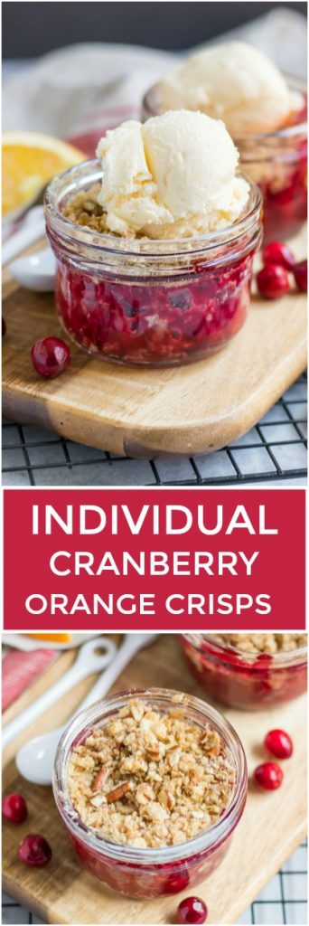 Move over cranberry sauce! These Individual Cranberry Orange Crisps are a simple cozy fall treat bursting with flavor. A rich, buttery oat crisp topping goes perfect with a big scoop of vanilla ice cream! #cranberry #crisp #dessert #thanksgivingrecipe #cranberryorange #cranberryrecipe #cranberries #oats