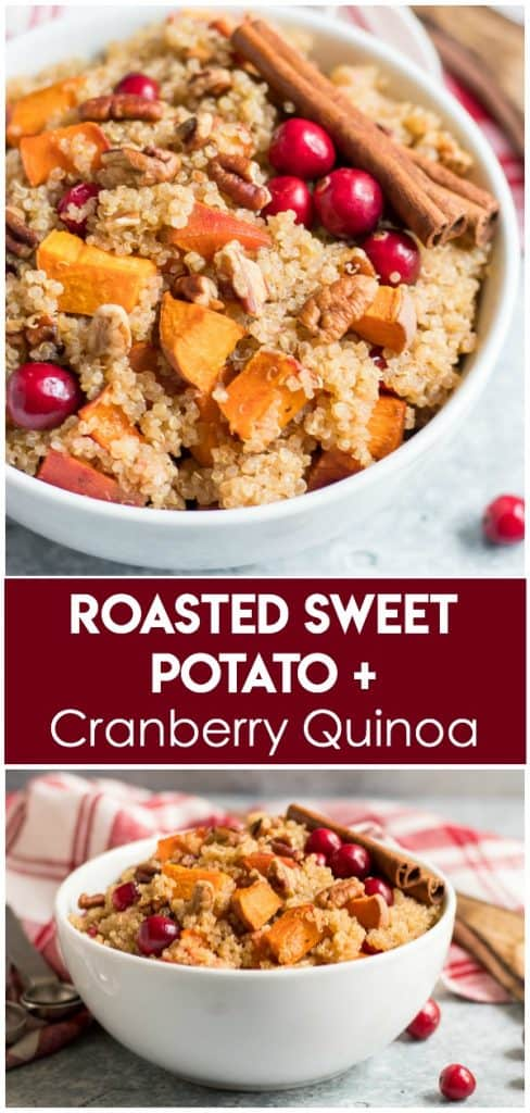Perfect fall flavors come together in this Roasted Sweet Potato Cranberry Quinoa recipe. If you are looking for something different for your holiday spread or just love adding quinoa to your recipes, then you will love this easy side dish! #fall #fallrecipes #quinoa #thanksgiving #cranberry