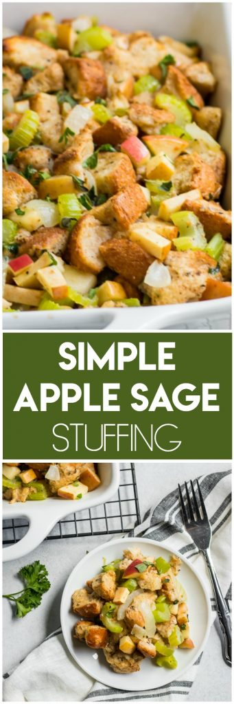 This Simple Apple Sage Stuffing recipe is sure to make this holiday season all the more delicious. Simple to whip up and full of fresh herbs and flavor. It's the perfect compliment to any turkey or Thanksgiving dinner! #stuffing #applestuffing #thanksgivingrecipe #thanksgiving #holidayrecipe