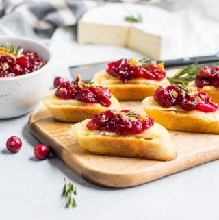 Cranberry Chutney on top of melted brie crostini