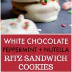 Two Ritz crackers stuffed with Nutella and dipped in a peppermint white chocolate and holiday sprinkles