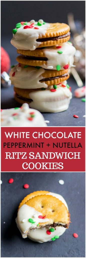 Looking for the easiest no bake Christmas cookie this holiday? This Ritz cracker cookie recipe is just that! Rich Nutella sandwiched between two Ritz crackers and dipped in a smooth peppermint white chocolate--doesn't get easier! #ritz #ritzcrackers #christmasrecipe #christmascookies #nobake #nobakerecipe #holidaytreat #ritzcookies