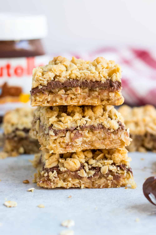 Nutella Layered Oatmeal Crumble Bars