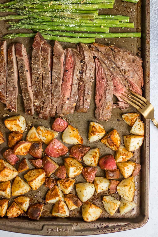 Parmesan crusted steak and potato sheet pan dinner 29