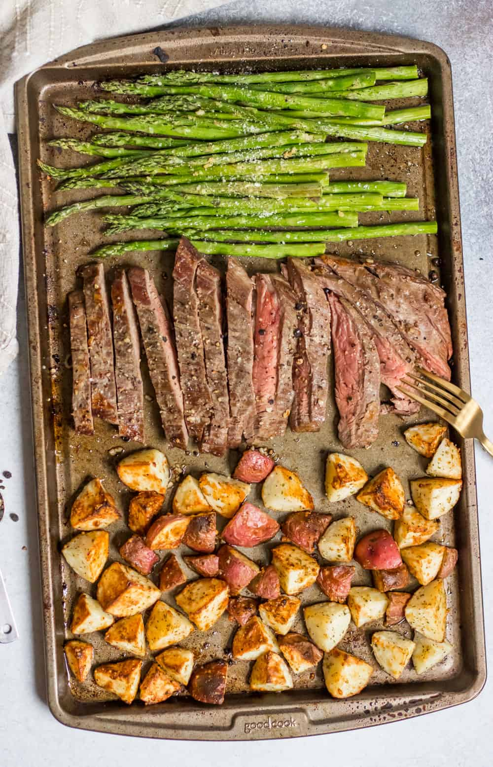 Parmesan Crusted Steak, potato and asparagus sheet pan dinner