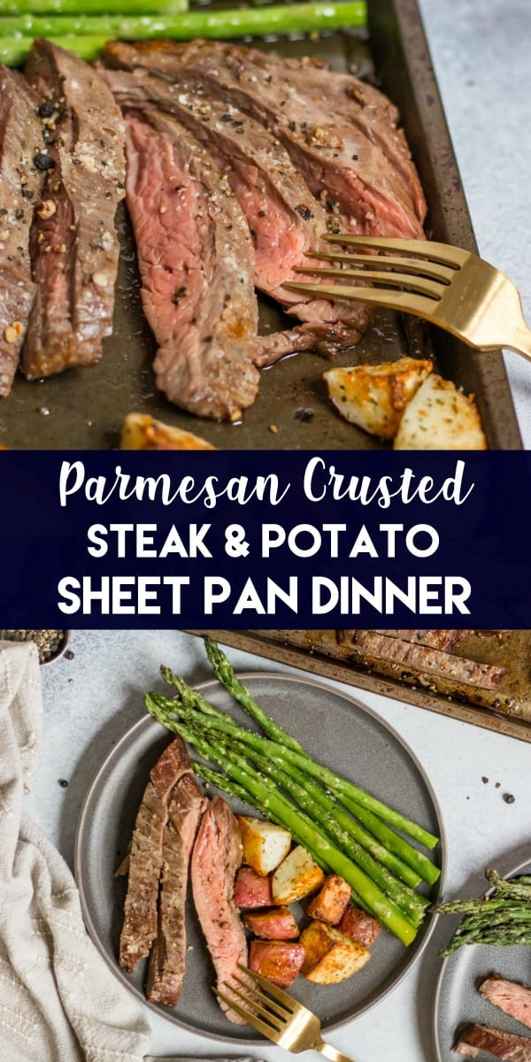 Parmesan Crusted Steak, potatoes and asparagus sheet pan dinner