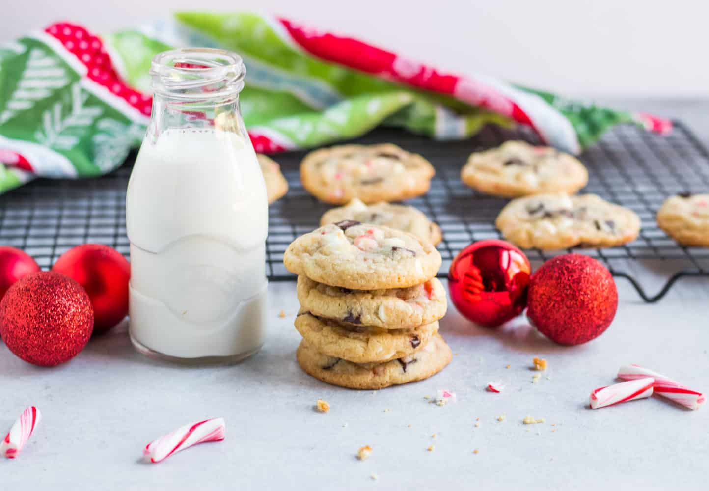 Peppermint Chip Cookies with white chocolate and dark chocolate chips as well as crushed up candy canes