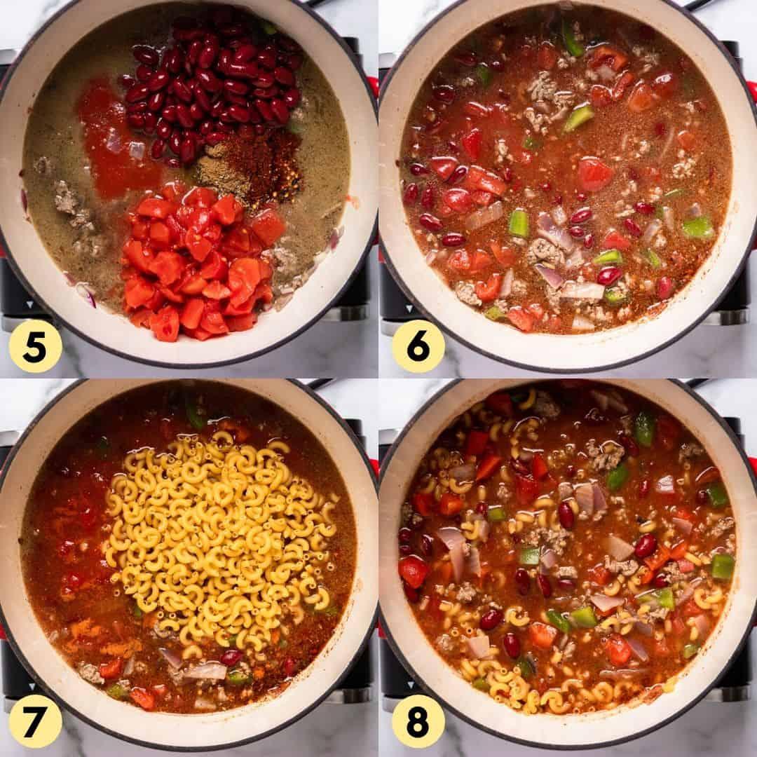 Process shots making chili mac.