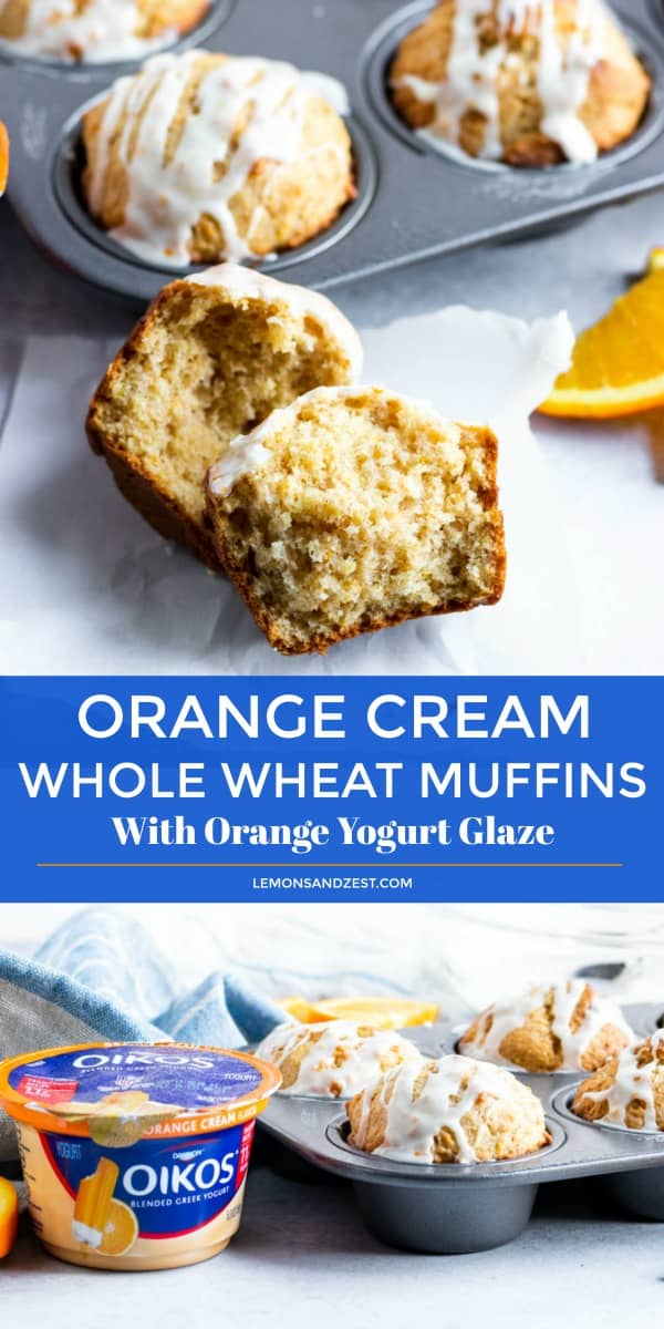 Orange Cream Whole Wheat Muffins with Orange Yogurt Glaze