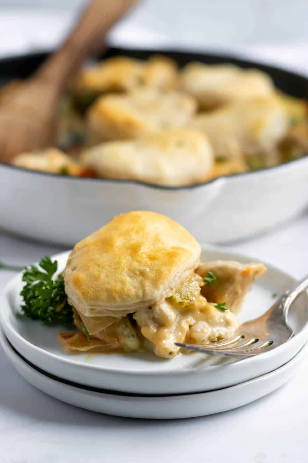 Chicken dinner on plate with biscuit topping.
