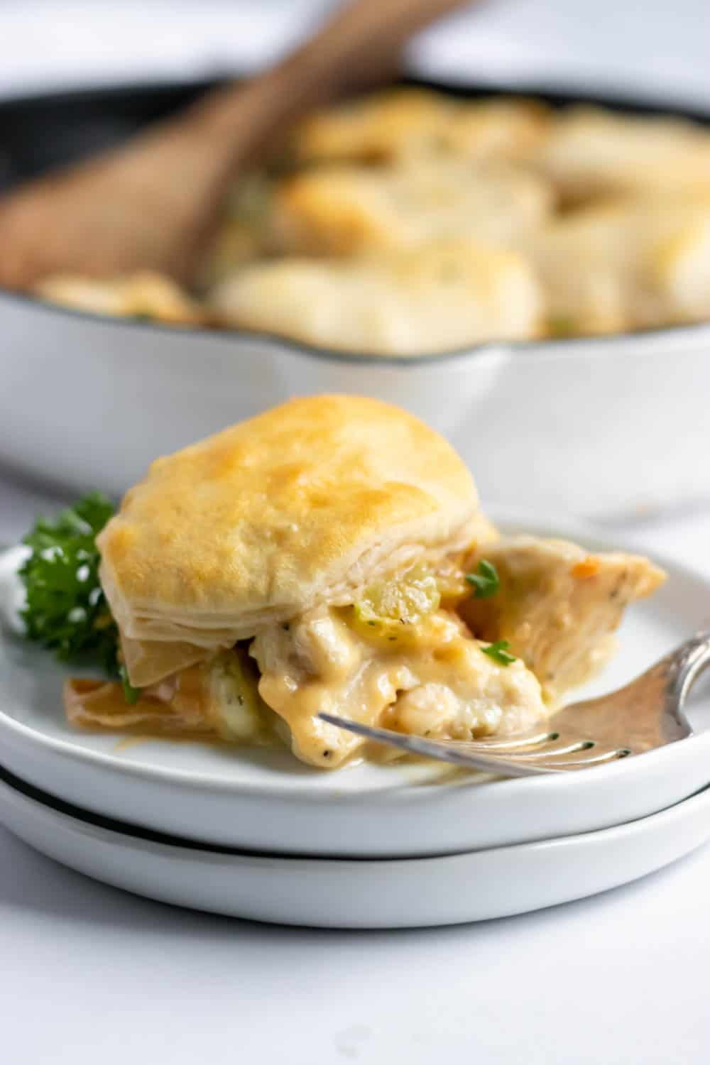 Chicken dinner with biscuit topping on white plate with skillet.