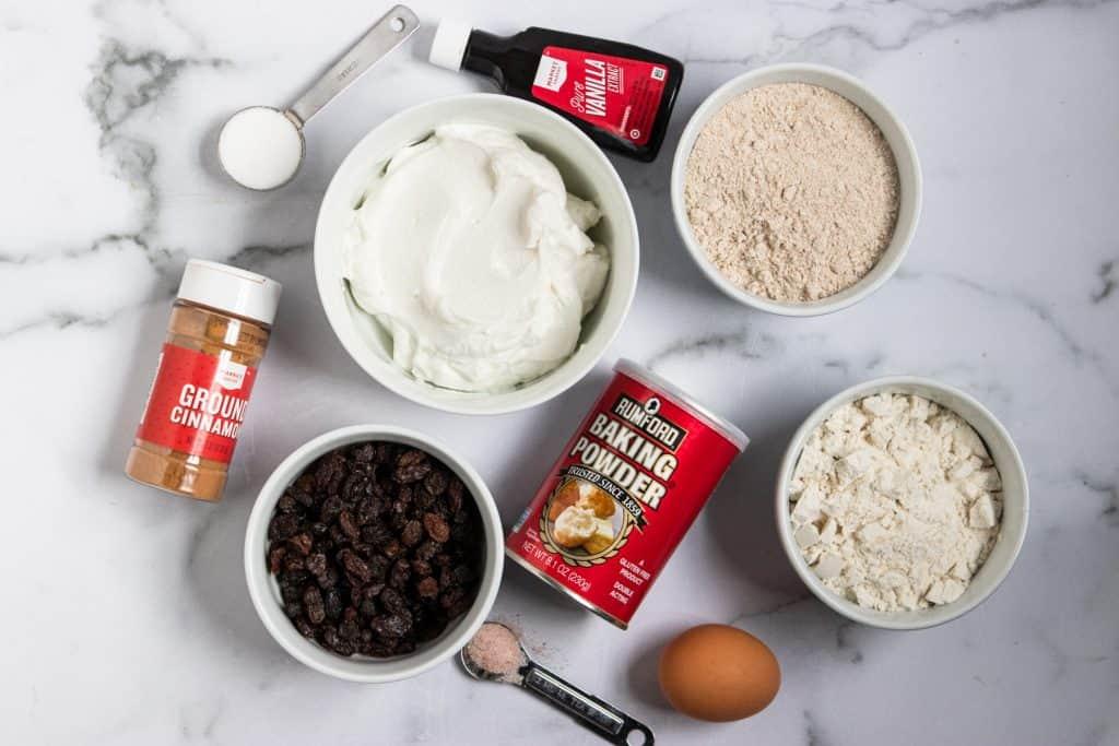 Ingredients to make Cinnamon Raisin Greek Yogurt Bagels.