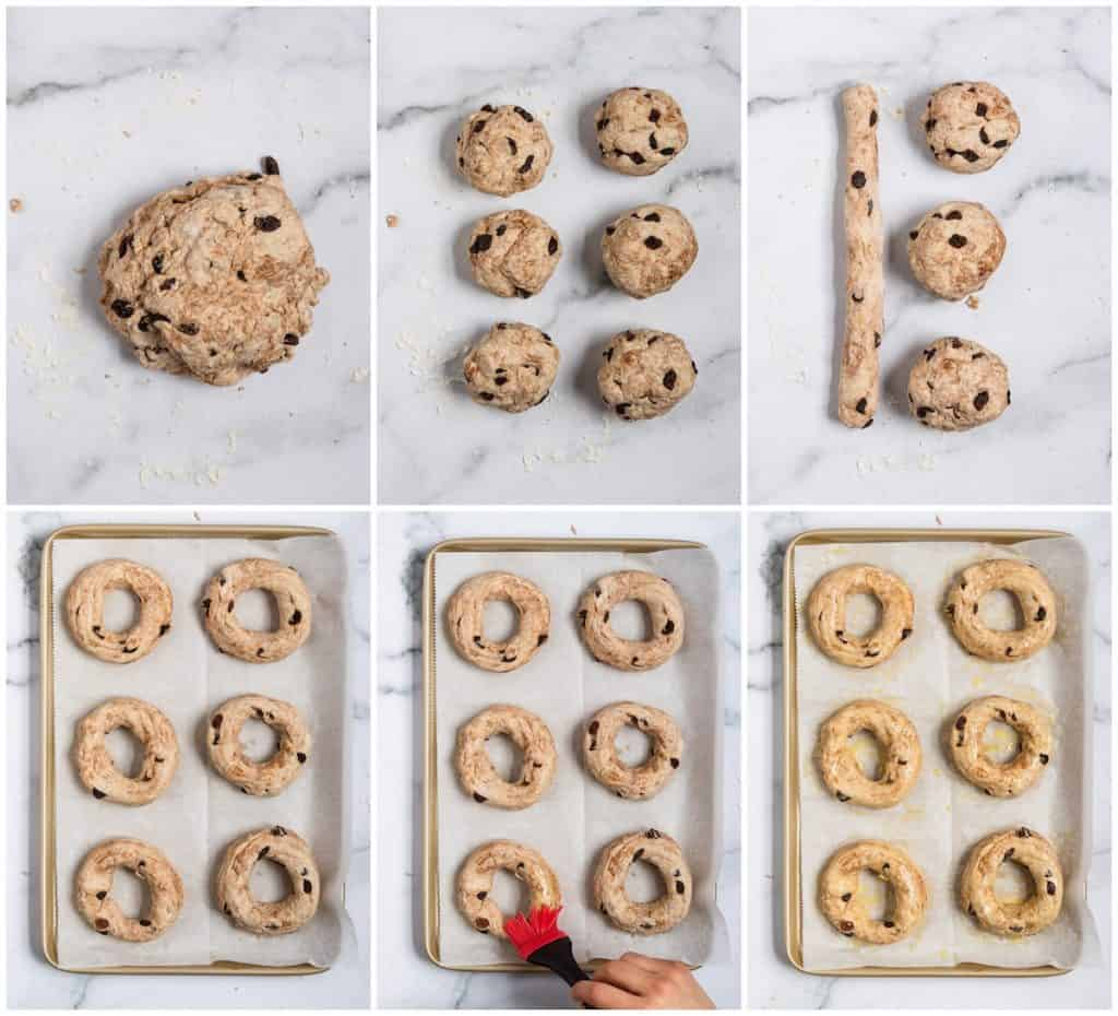 Images to show how to assemble bagels.
