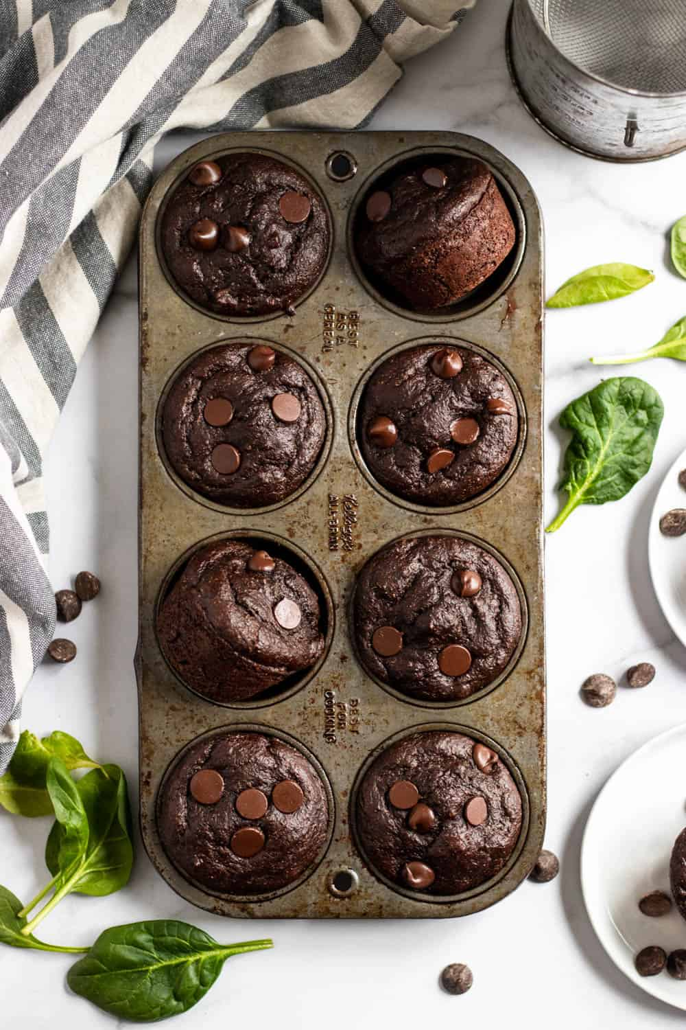 Green Smoothie Muffins in muffin tin.