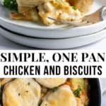 Chicken and biscuit dinner on plate.
