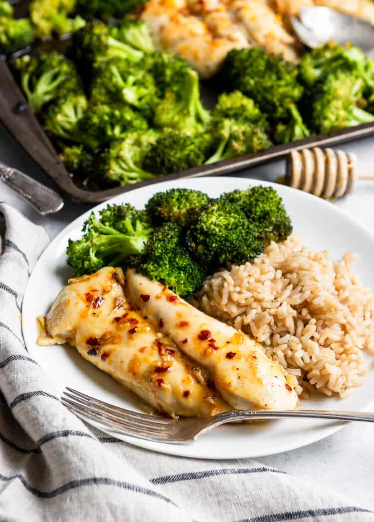 Baked Orange Chicken and Broccoli with rice