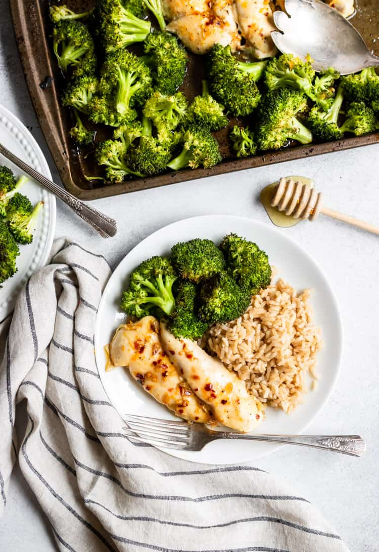 Baked Orange Chicken with Broccoli and Rice