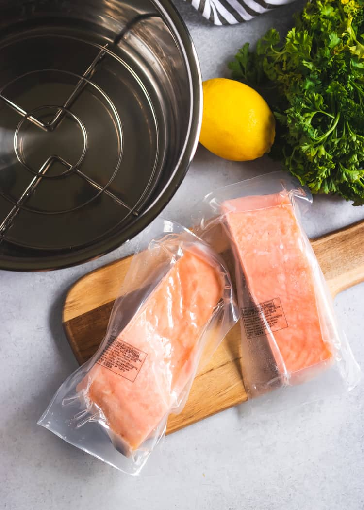 Butter Herb Instant Pot Salmon with lemon and green beans.