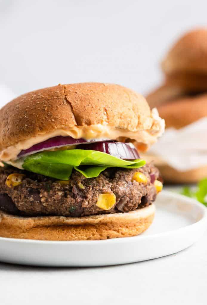 black bean burger on bun.
