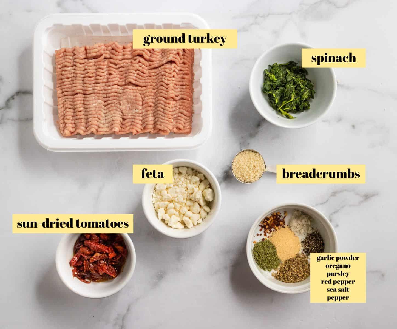 Ingredients to make turkey burger recipe.