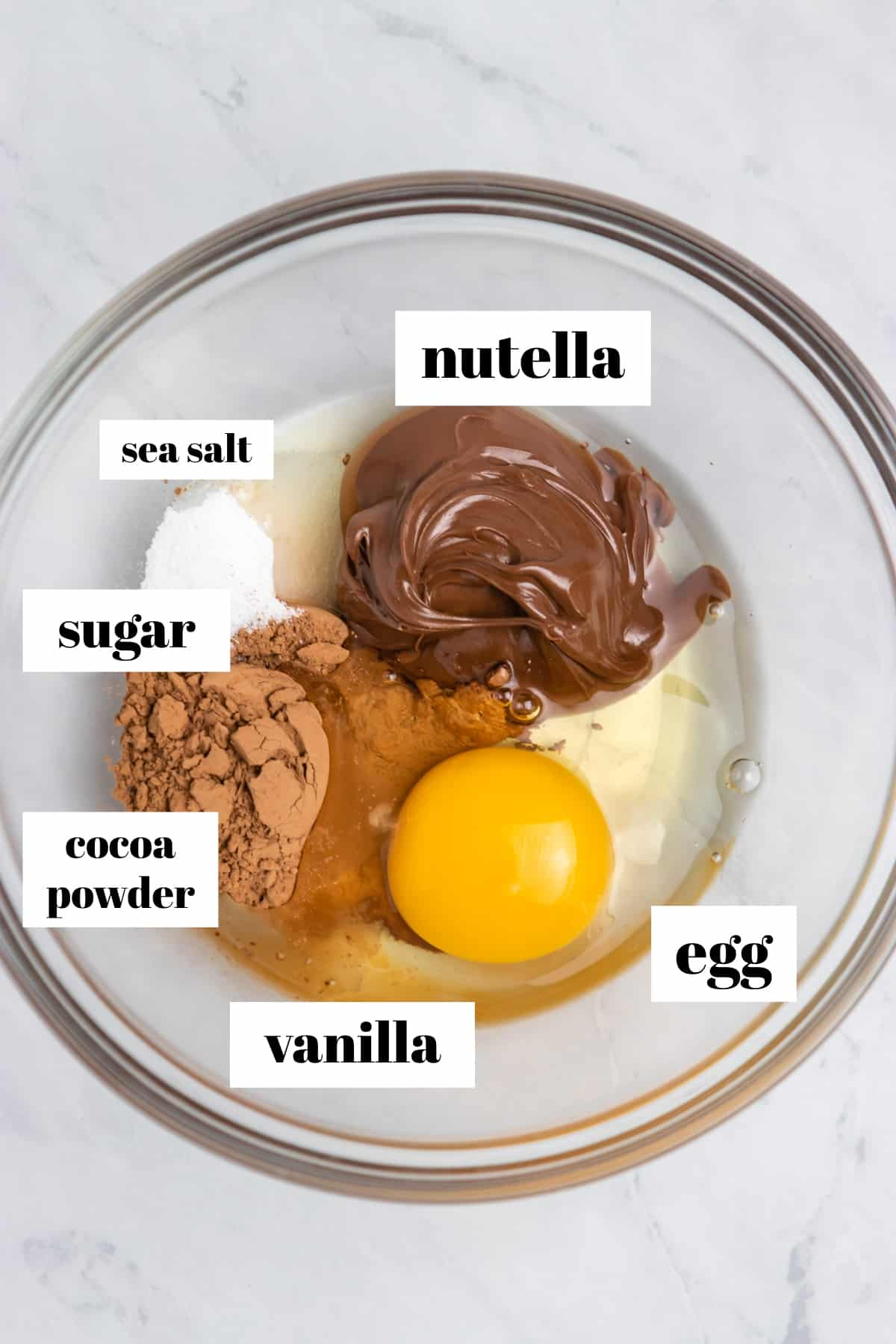 Labeled ingredients including egg, cocoa powder, vanilla, etc. in mixing bowl.