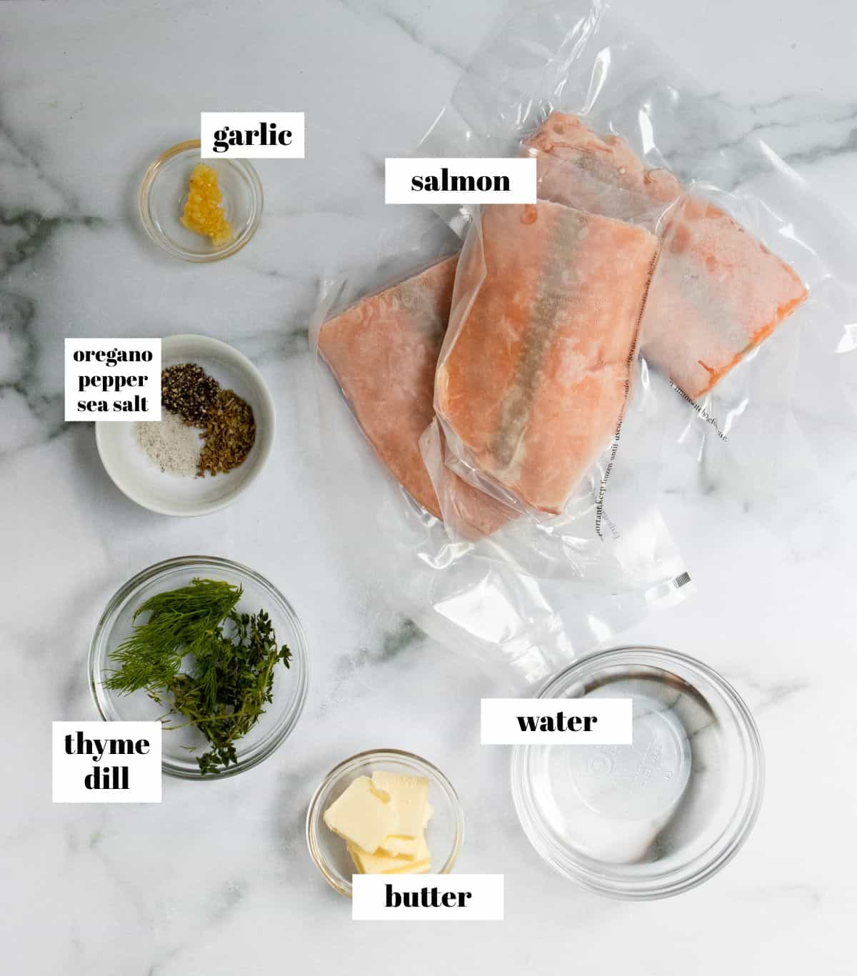Salmon ingredients on counter.