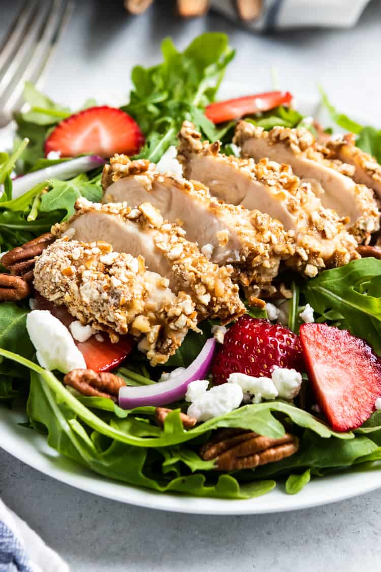 Strawberry Arugula Goat Cheese Salad with Pretzel Crusted Chicken