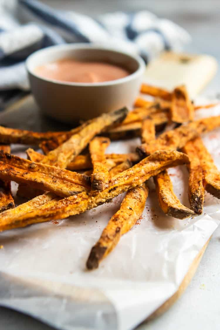 Sweet Potato Fries with dipping sauce.
