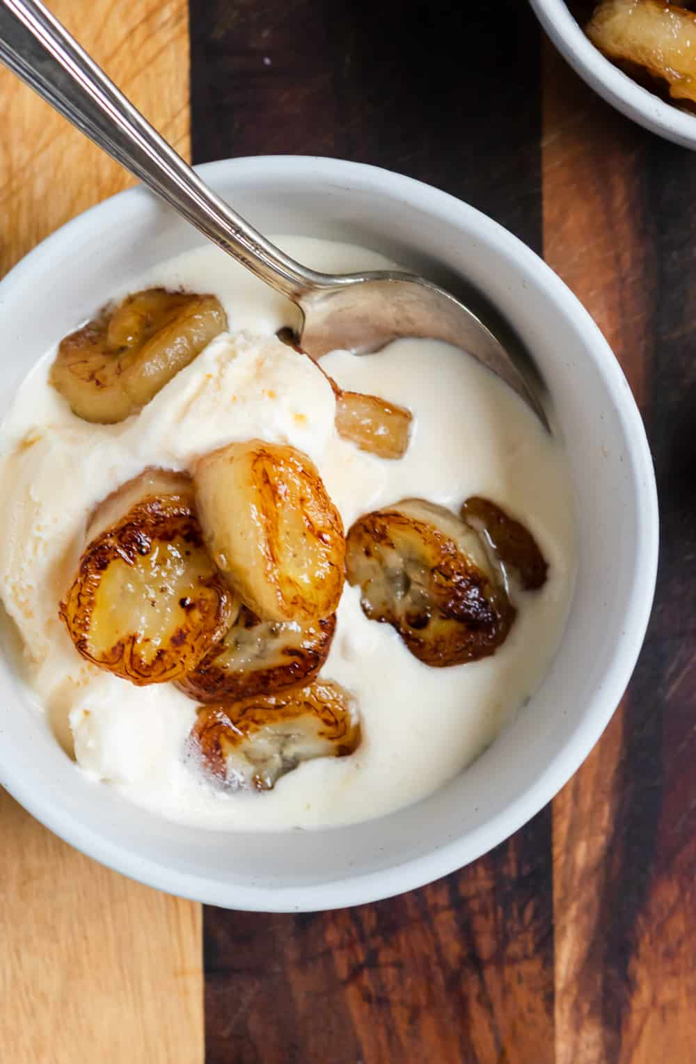 Maple Fried Bananas over ice cream.