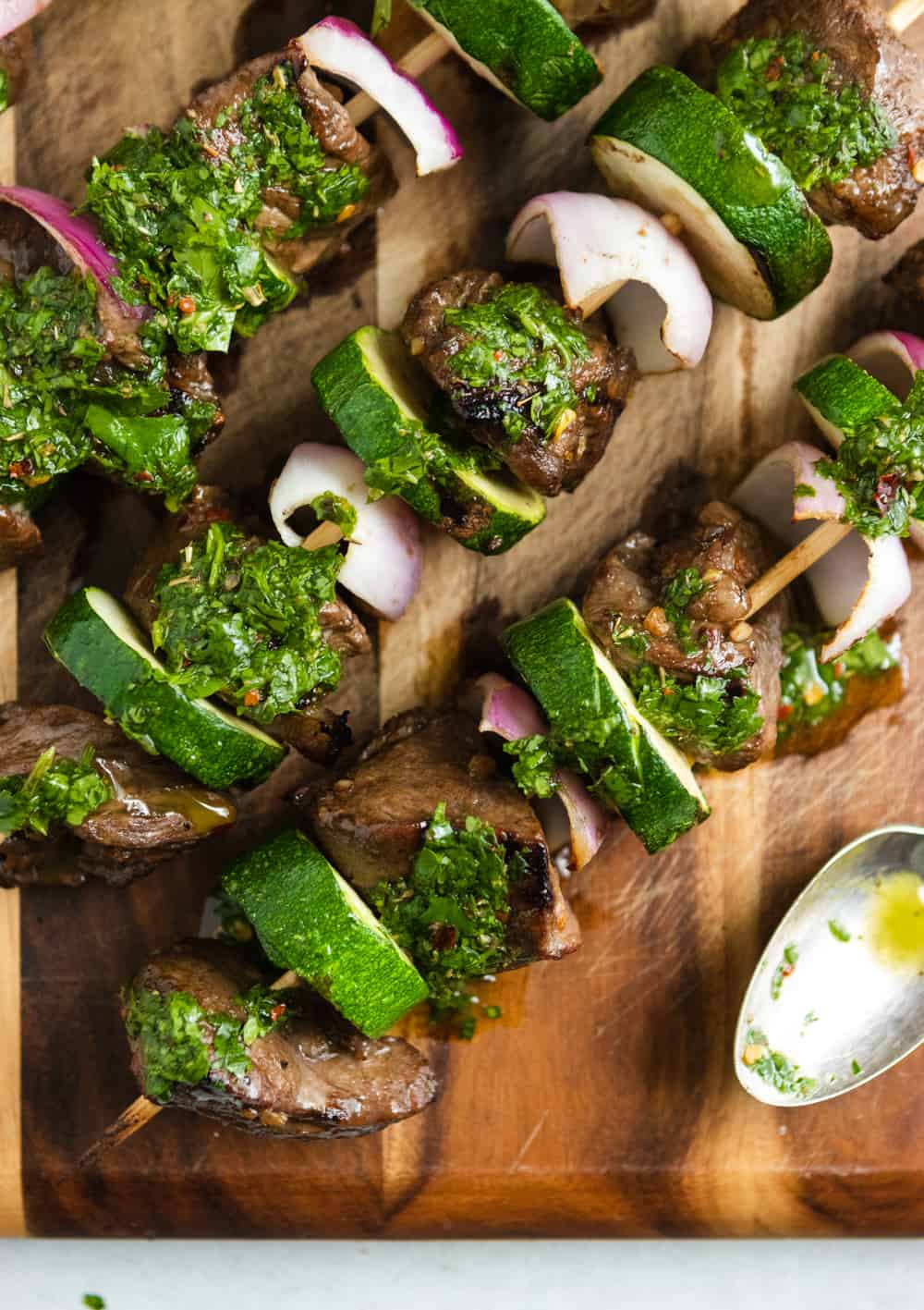 Grilled Steak Kabobs with Cilantro Chimichurri.