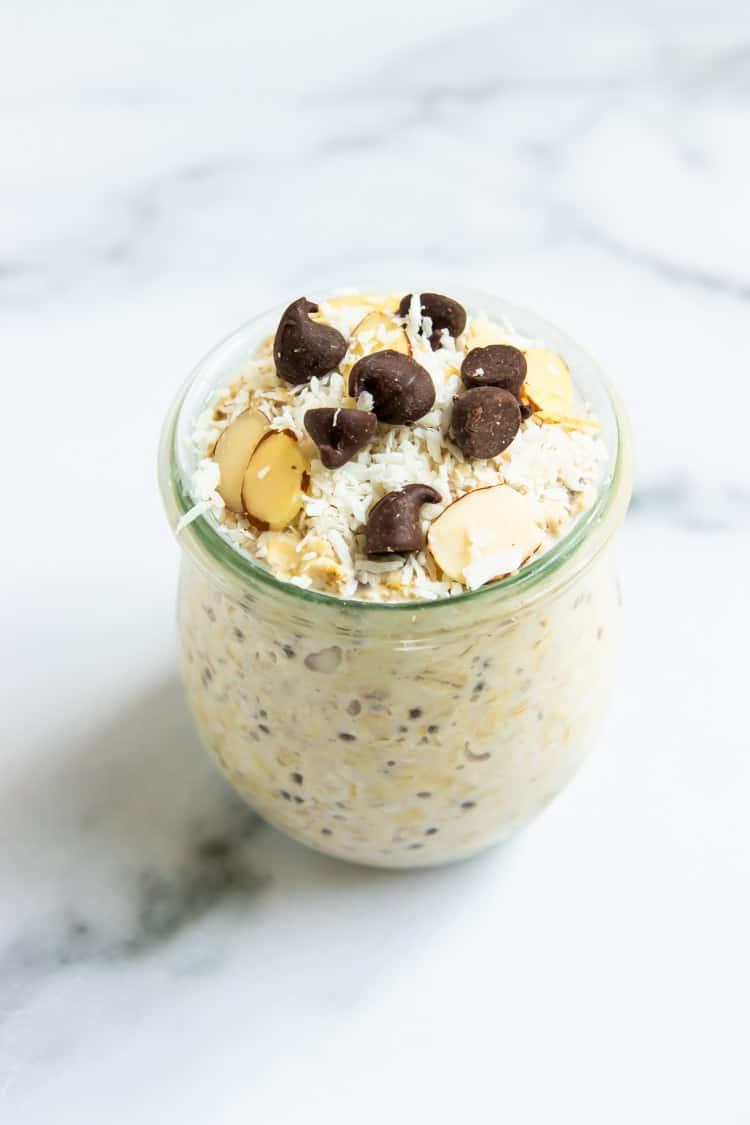 Almond Joy oats in jar.