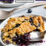 Blueberry lemon easy dump cake recipe on white plate with spoonful.