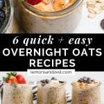Strawberry and peanut butter in jar of overnight oats plus 6 jars of different flavors.