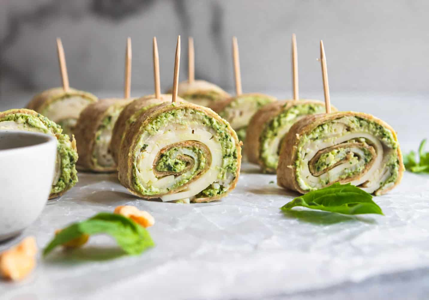 Pesto Turkey Pinwheels.