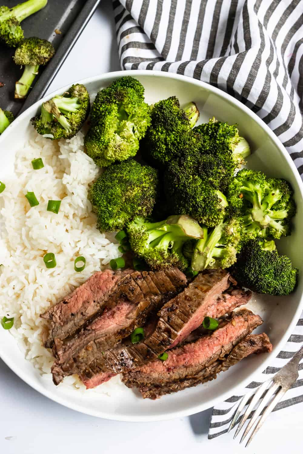 15 Minute Marinated Sheet Pan Steak and Broccoli Dinner