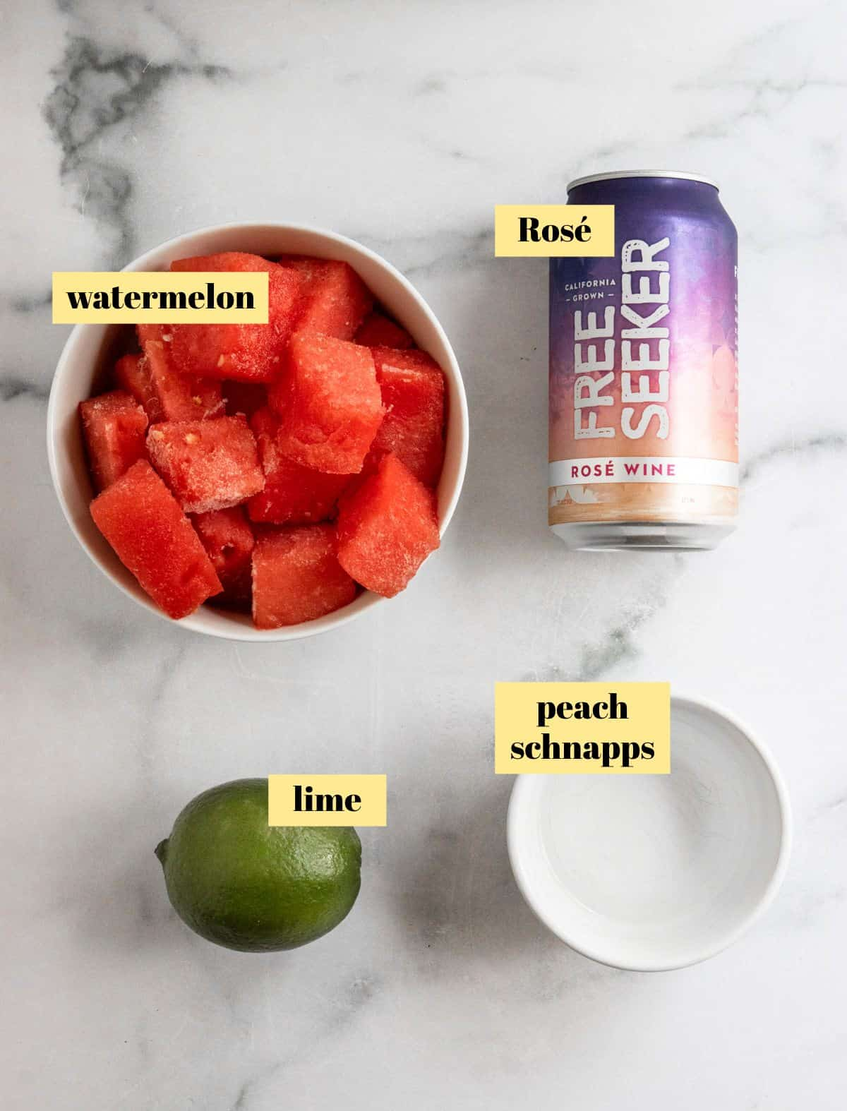 Rose, lime, watermelon and peach schnapps.