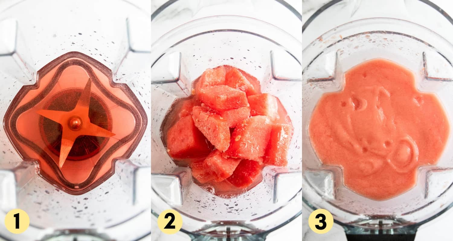 Frozen watermelon and rosé in blender.