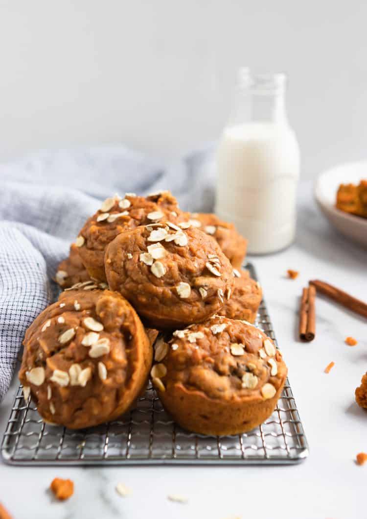 Pumpkin Carrot Muffins on rack.